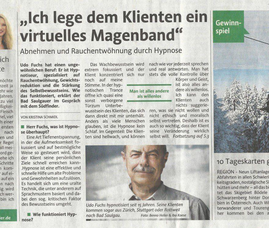 Pressebericht Südfinder über Fuchs Hypnose