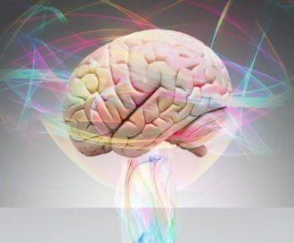 Gehirn umgeben von Zucker-Suchtgedanken