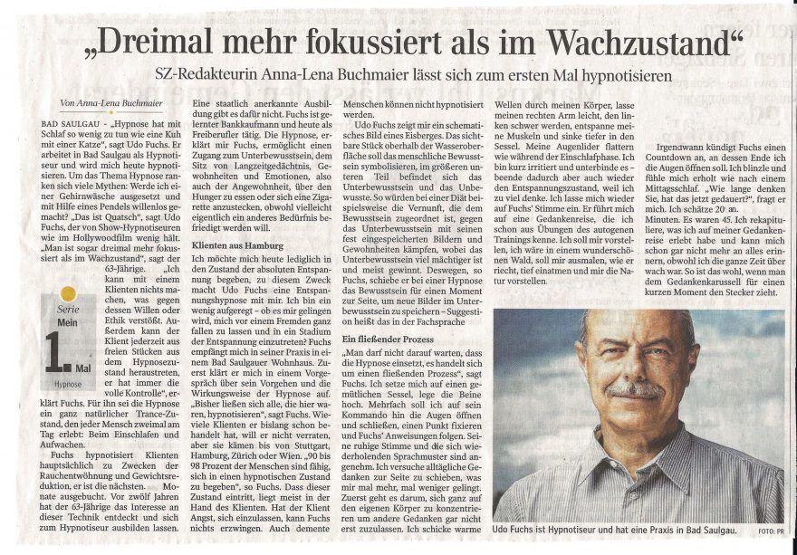 Pressebericht Schwaebische Zeitung über Fuchs-Hypnose