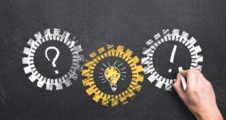3 Zahnräder mit Fragezeichensymbolen für Fakten der Hypnose zum sicher Abnehmen und Hypnose zum Rauchen aufhören